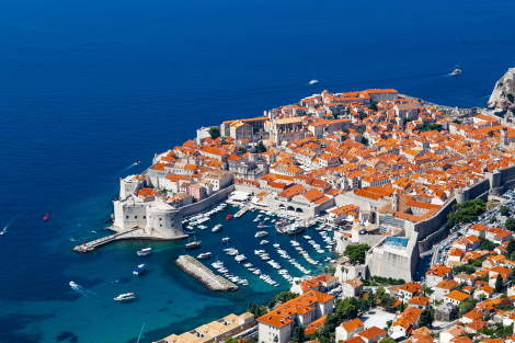 Dubrovnik town from air