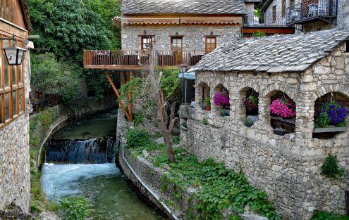 Mostar river and restaurants