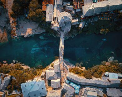 Mostar river and bridge air view
