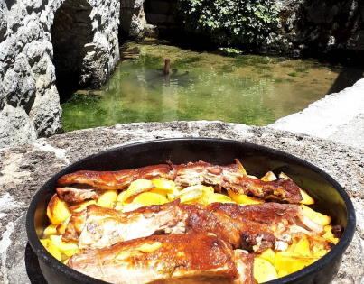 Traditional meal peka lunch in Imotski